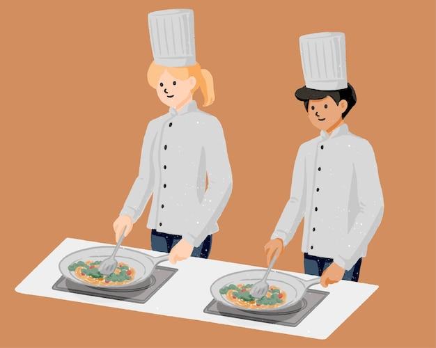 Männlicher und weiblicher koch, der mit gezeichneter pfannenkarikaturhand kocht