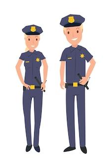 Männlicher und weiblicher polizeibeamte in der karikaturart