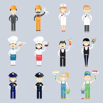 Männlicher und weiblicher professioneller charaktervektorsatz mit doktor und krankenschwester koch und koch kellner und kellnerin polizei sergeant innenarchitekten und bauarbeiter