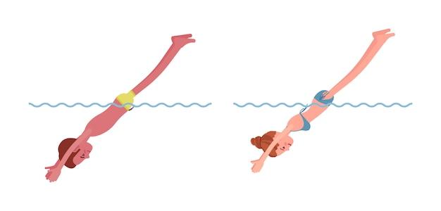 Männlicher und weiblicher schwimmer, die den sprung durchführen