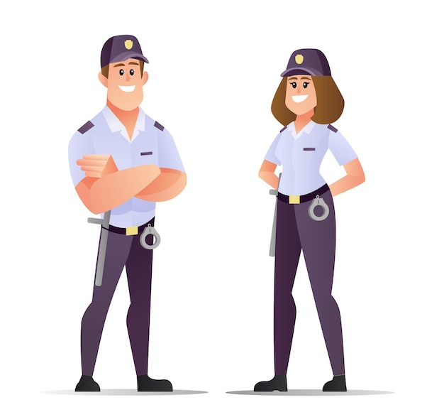 Männlicher und weiblicher sicherheitscharakter im flachen cartoon