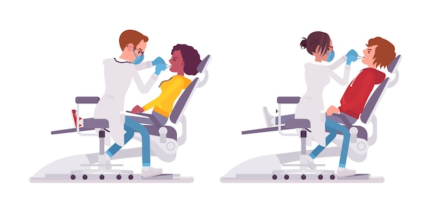 Männlicher und weiblicher zahnarzt. personen in krankenhausuniformen, die in der praxis der zahnbehandlung ausgebildet sind. medizin- und gesundheitskonzept. stilkarikaturillustration auf weißem hintergrund