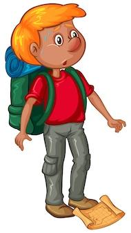 Männlicher wanderer mit rucksack und karte