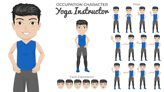 Männlicher yogalehrer-zeichensatz mit einer vielzahl von pose- und gesichtsausdrücken