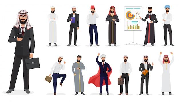Männlicher zeichensatz des arabischen moslemischen geschäftsmannes der karikatur, der in den verschiedenen positionen steht.