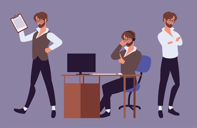 Männliches büroassistenten-set