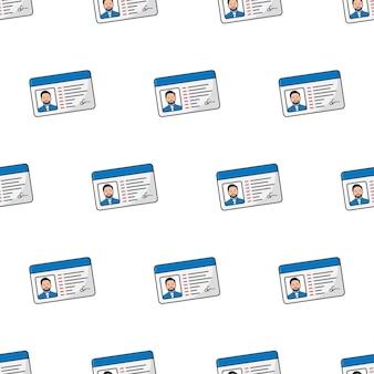 Männliches id-karten-nahtloses muster auf einem weißen hintergrund. persönliche identität thema vektor-illustration