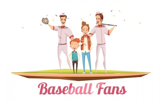 Männliches konzept des entwurfs der baseballfans mit zwei erwachsenen männern und zwei jungen auf baseballfeld mit karikatur-vektorillustration der sportausrüstung flache