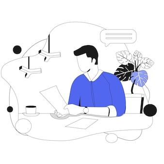 Männliches personal, das dokumente liest. geschäftsillustration im flachen stil