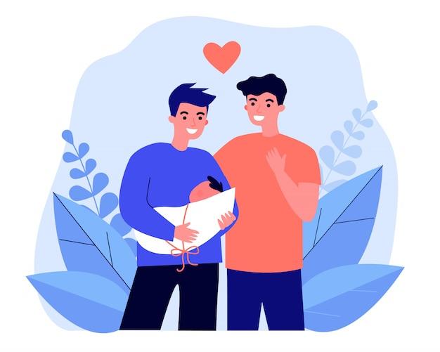 Männliches schwules paar, das baby adoptiert