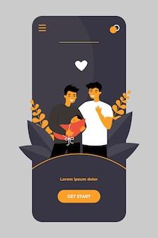Männliches schwules paar, das baby auf mobiler app adoptiert