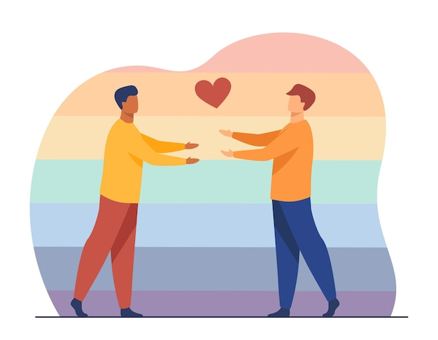 Männliches schwules paar verliebt. herzsymbol, umarmung, regenbogenhintergrund. karikaturillustration