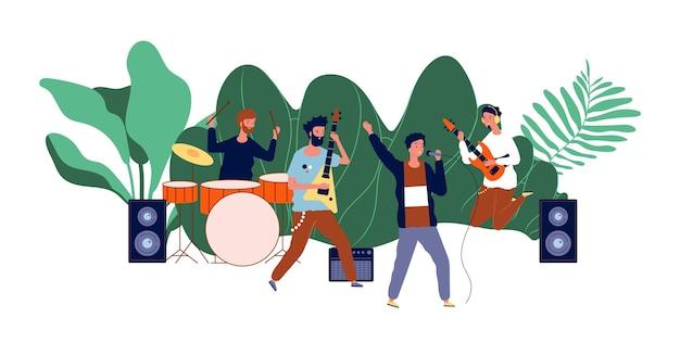 Männliches teamkonzert. jungenband, männermusiker oder popgruppe.