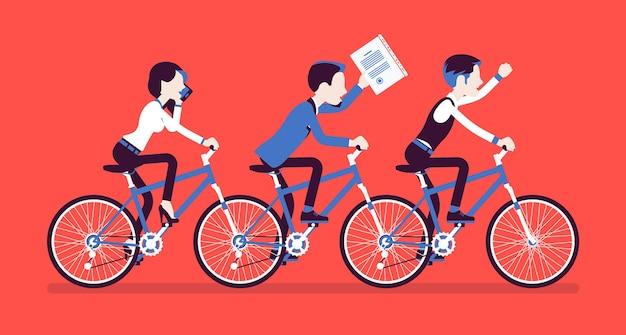 Männliches und weibliches business-tandem. erfolgreiches team, das in zusammenarbeit und absprache gemeinsam fahrrad fährt. synchronisation, professionelle zusammengehörigkeitsmetapher. vektorillustration, gesichtslose charaktere
