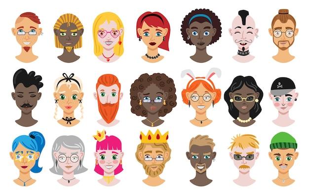 Männliches und weibliches karikaturporträtsatz der verschiedenen ethnischen illustration