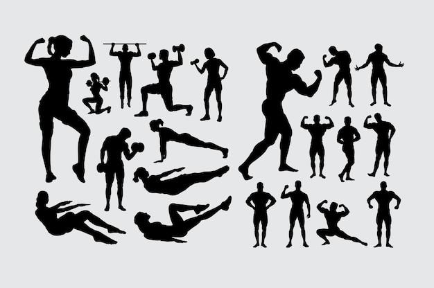 Männliches und weibliches leutesportschattenbild der eignung und des bodybuildings