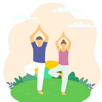 Männliches und weibliches paar beim sport im freien illustrationskonzept relax rest recreation gymnastics