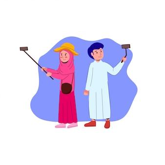 Männliches und weibliches selfie, das vlog-illustration macht