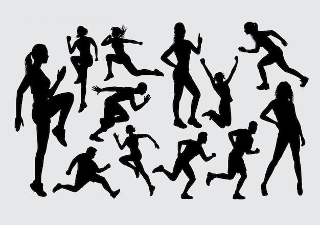 Männliches und weibliches sportschattenbild