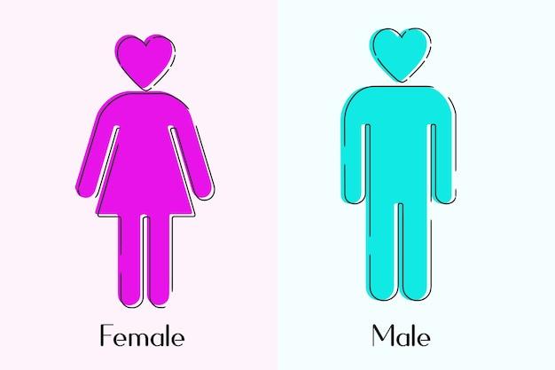 Männliches und weibliches symbol minimal