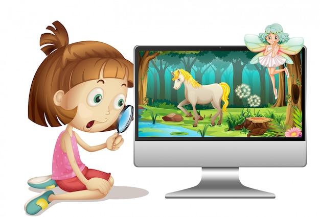 Märchen auf computerhintergrund