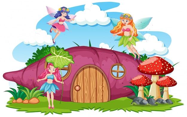 Märchen mit taro-hauskarikaturstil auf weißem hintergrund