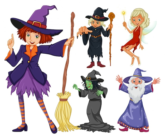 Märchen-set mit hexe und zauberer