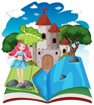 Märchen und schlossturm auf pop-up-buchkarikaturstil auf weiß