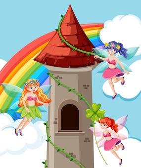 Märchen und schlossturmkarikaturstil auf regenbogenhimmelhintergrund