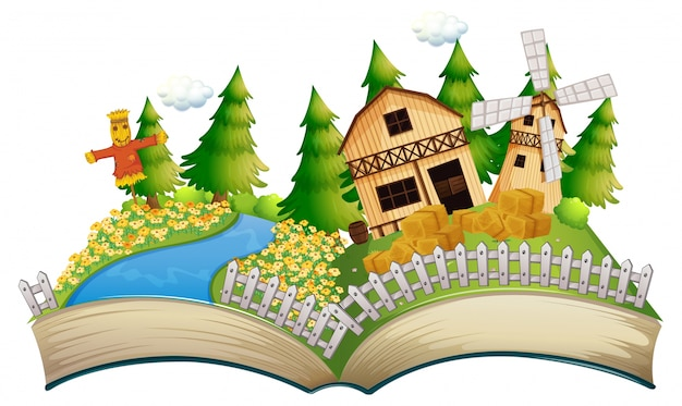 Märchenbuch mit vogelscheuche in der farm