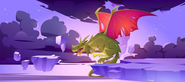 Märchendrache im himmel mit fliegenden felseninseln, schwarzen wolken und sternen. vektor-karikatur-fantasieillustration des gruseligen monsters aus der mittelalterlichen mythologie, magisches tier mit roten flügeln
