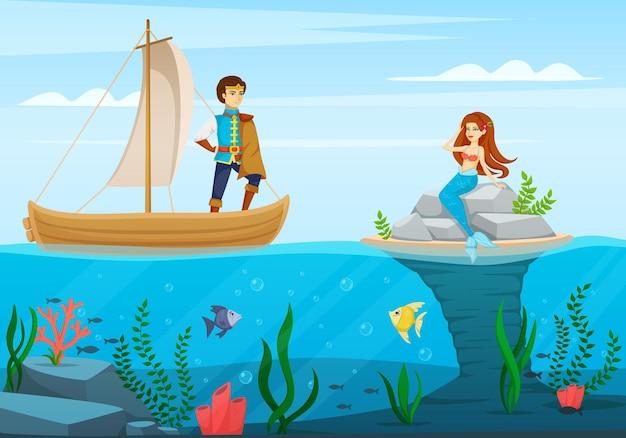 Märchenfiguren-cartoon-komposition eine szene aus dem cartoon mit dem prinzen und der meerjungfrau-illustration