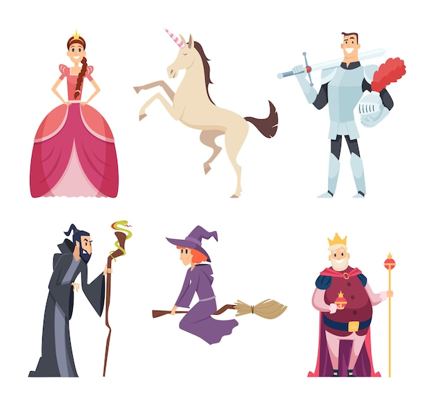 Märchenfiguren. königin zauberer fantasie maskottchen königreich jungen mädchen tiere cartoon bilder.