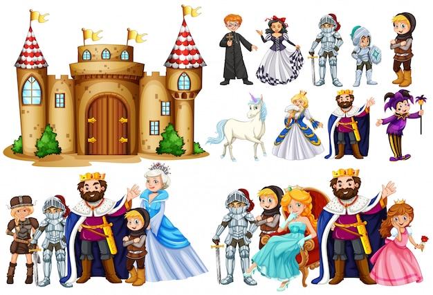 Märchenfiguren und burggebäude