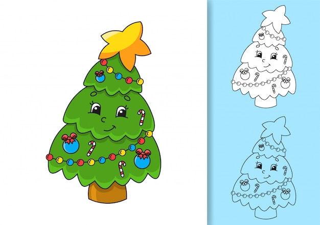 Märchenhafter weihnachtsbaum mit einem stern.