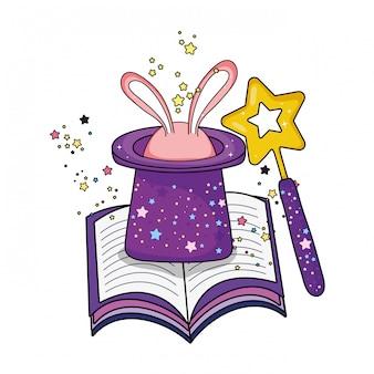 Märchenhafter zauberhut mit hasenohren und zauberstab