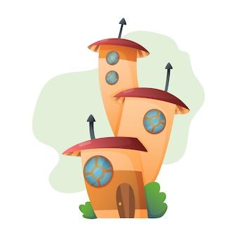 Märchenhaftes baumhaus der fantasiehauskarikatur und wohndorfillustrationssatz des kindermärchen-schauspielhauses lokalisiert auf weiß.