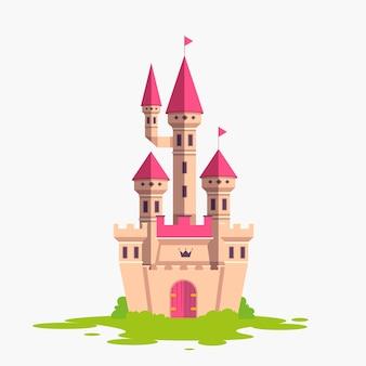 Märchenkonzept mit schloss auf gras