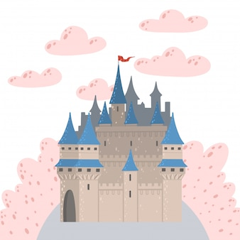 Märchenlandschaft mit einer burg. fantasie palastturm. fantastisches feenhaus.