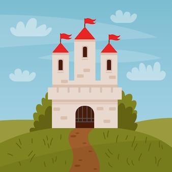 Märchenlandschaft mit schloss weißer turm mit roten fahnen märchenhaus oder zauberschloss königreich