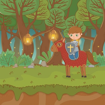 Märchenlandschaftsszene mit krieger im pferd