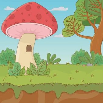 Märchenlandschaftsszene mit pilz