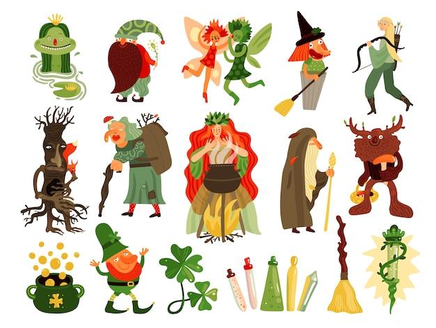Märchensatz der mythologie und der folklore-zeichentrickfiguren, die im wald leben