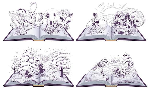 Märchensatz offenes buchillustration wolf und fuchs alter mann ein bär