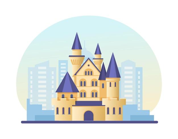 Märchenschloss am modernen wolkenkratzerstadtbild. landschaftsluxushäuschen mit türmenstadtgebäudearchitekturschattenbild. außenansicht der skyline-fassade. städtischer hausdesign-cartoon-vektor