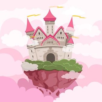 Märchenschloss mit großen türmen im himmel. fantasy landschaft hintergrund