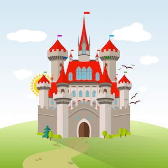 Märchenschloss. vektor-fantasie-kind-illustration. flache landschaft mit grünen bäumen, gras, weg, steinen und wolken.