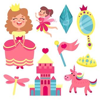 Märchenset, sammlung mit accessoires für eine kleine prinzessin oder märchenillustrationen