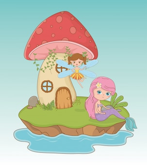 Märchenszene mit fee und meerjungfrau