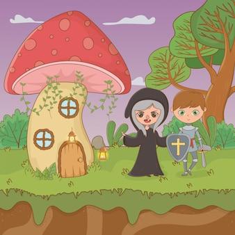 Märchenszene mit hexe und krieger